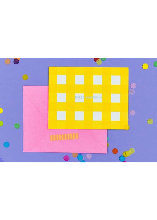 Taylor Elliot Hello Sunshine Yellow Gingham Notecard Set
