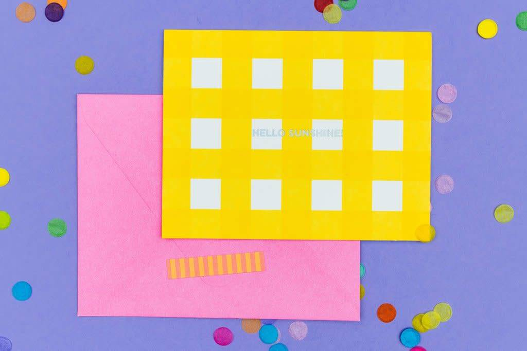 Hello Sunshine Yellow Gingham Notecard Set