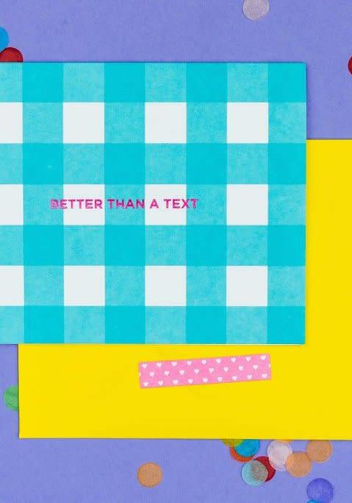 Better Than a Text Blue Gingham Notecard Set
