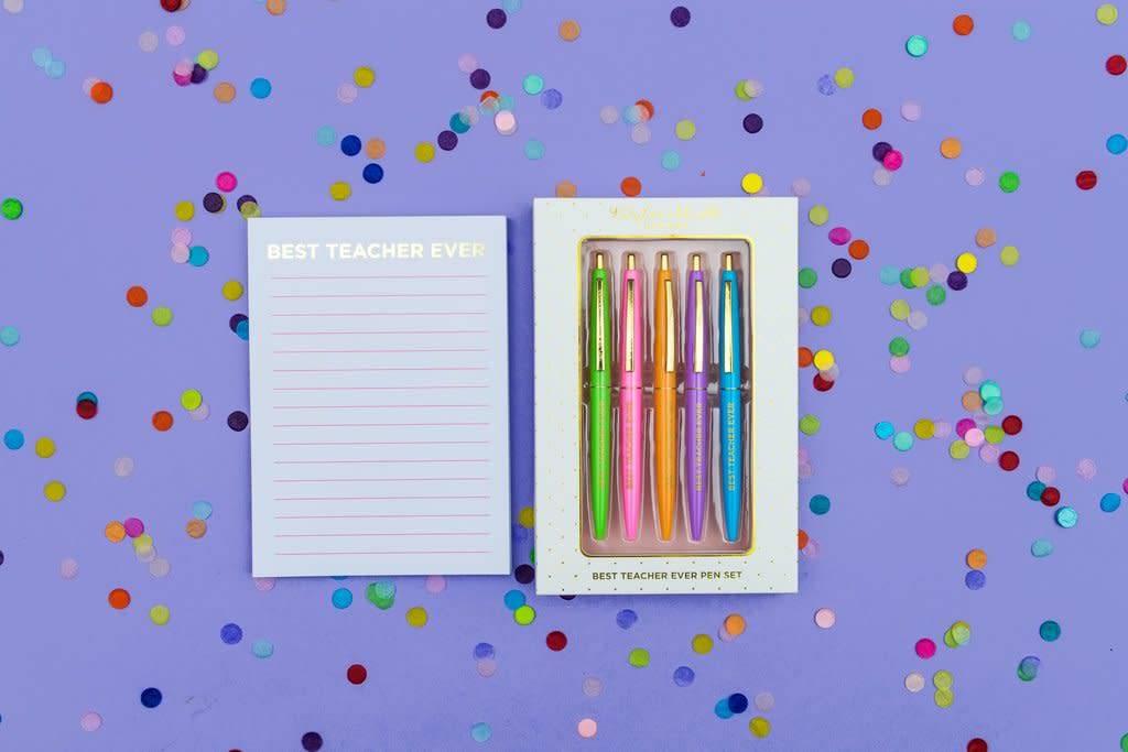 Best Teacher Ever Colored Ink Pen Set
