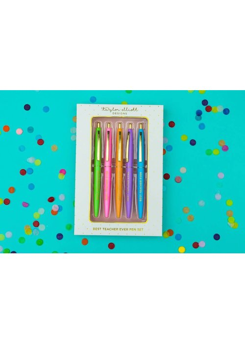 Taylor Elliot Best Teacher Ever Colored Ink Pen Set
