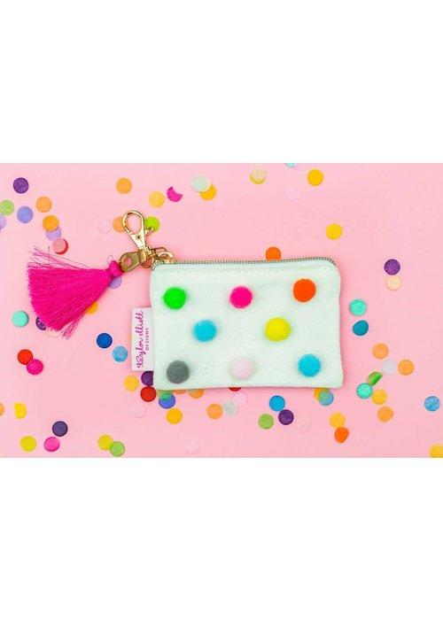 Taylor Elliot Mini Rainbow Pom Card Holder Keychain