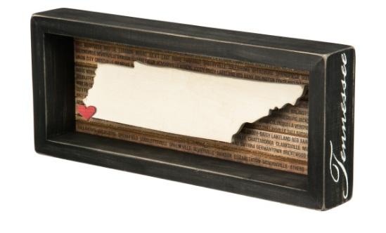 Tennessee Box Sign w/Adhesive Mini Heart