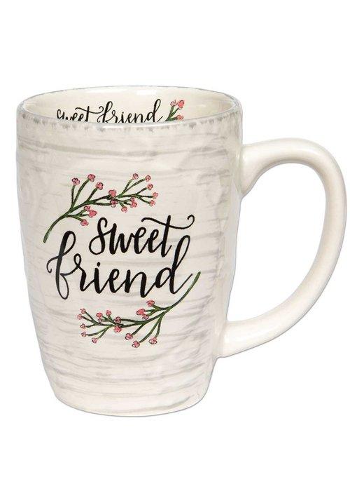 Sweet Friend Floral Embossed 16oz Mug