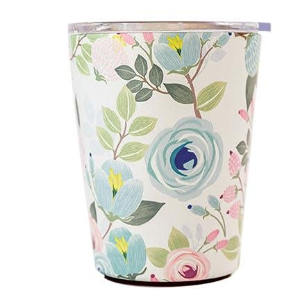 Peach Floral Stainless Steel 12oz Coffee Tumbler