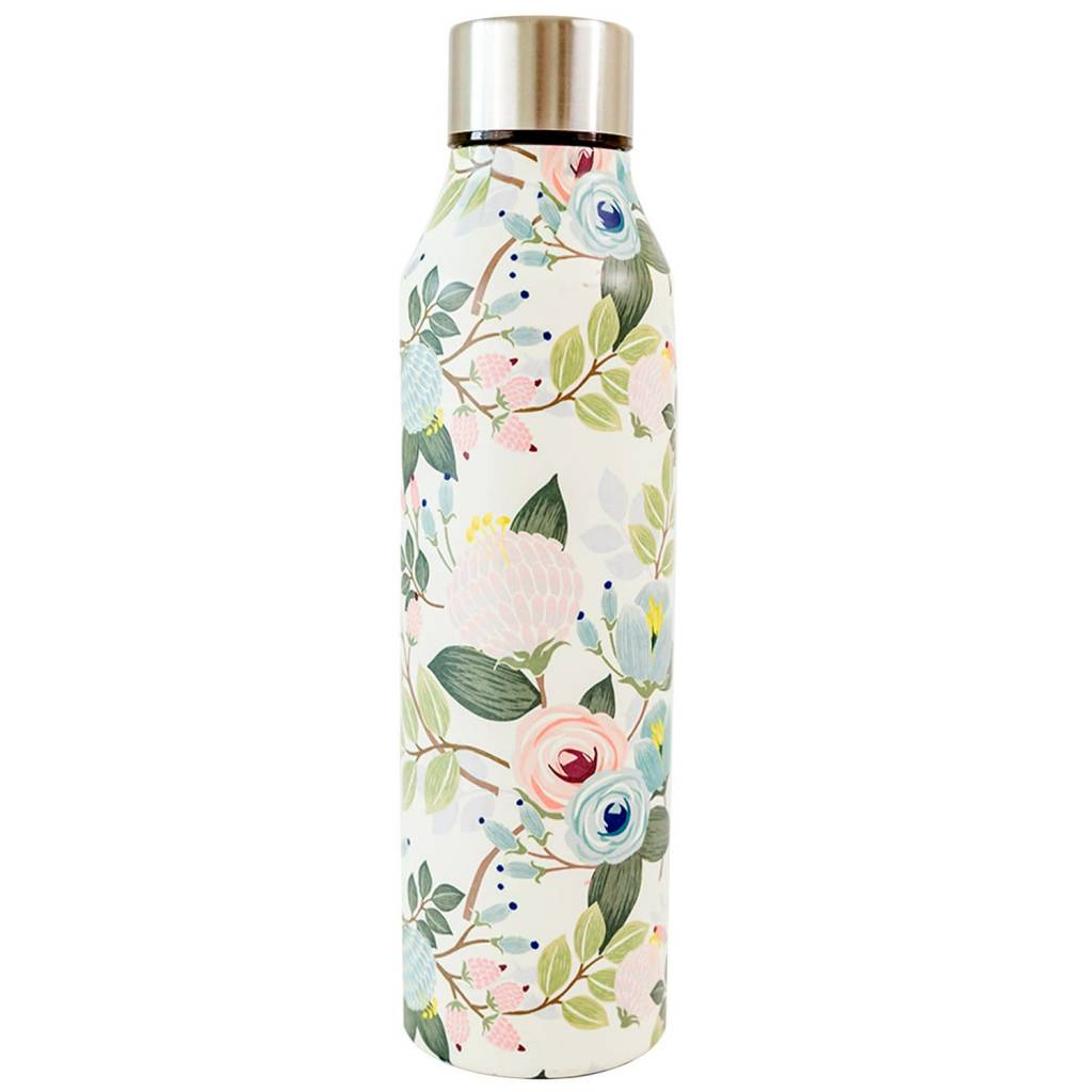 Peach Floral Stainless Steel 17oz Bottle