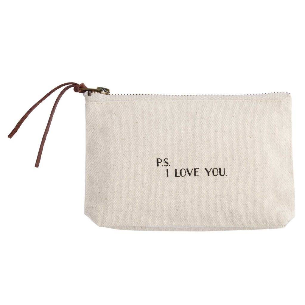 Mudpie P.S. I Love You Canvas Cosmetic Bag
