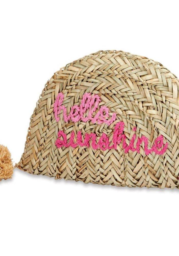 Pink Hello Sunshine Straw Clutch