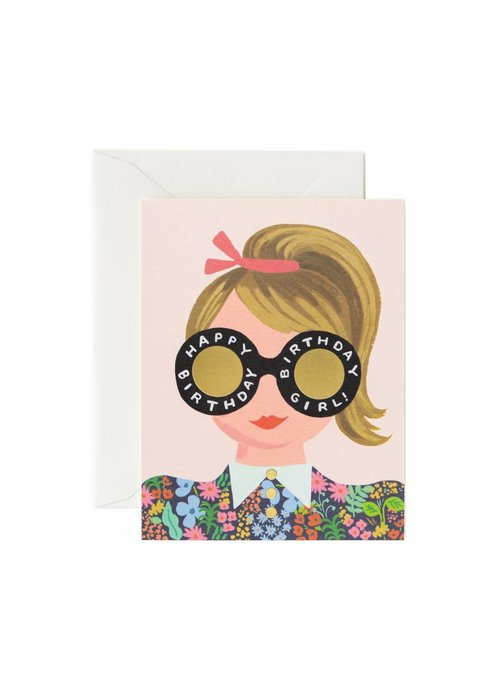 Rifle Paper Meadow Ponytail Birthday Girl Card