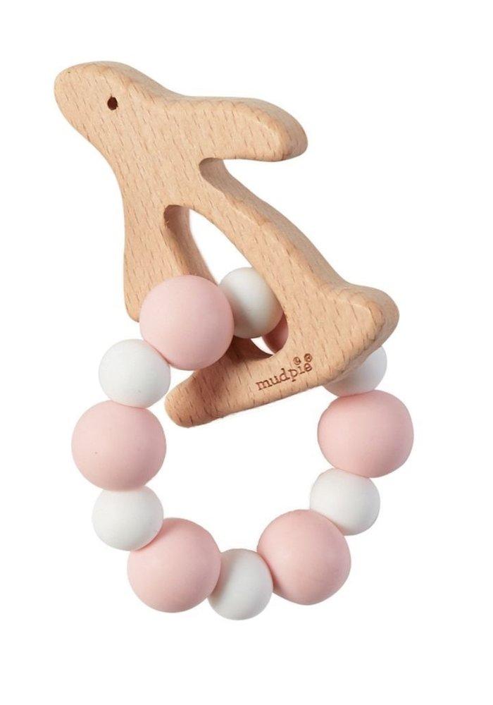 Pink Bunny Wood/Silicone Teether