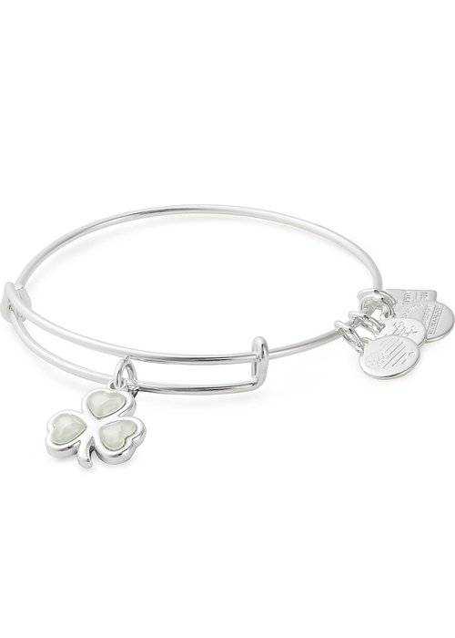 Alex & Ani Alex & Ani Chairty By Design Crystal Shamrock Charm Bangle Silver