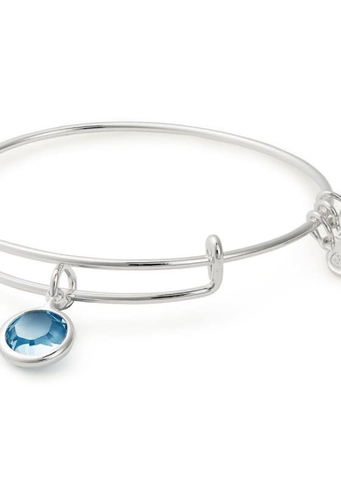 Alex & Ani Aquamarine Swarovsaki Color Code March Charm Bangle Silver