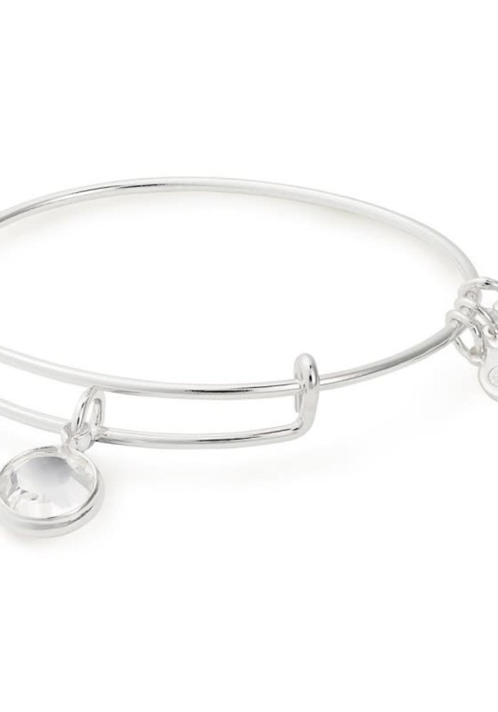Alex & Ani Clear Crystal Swarovsaki Color Code April Charm Bangle Silver