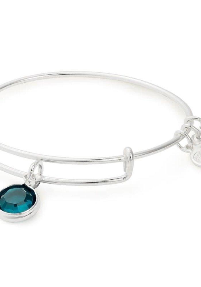 Alex & Ani Emerald Swarovsaki Color Code May Charm Bangle Silver