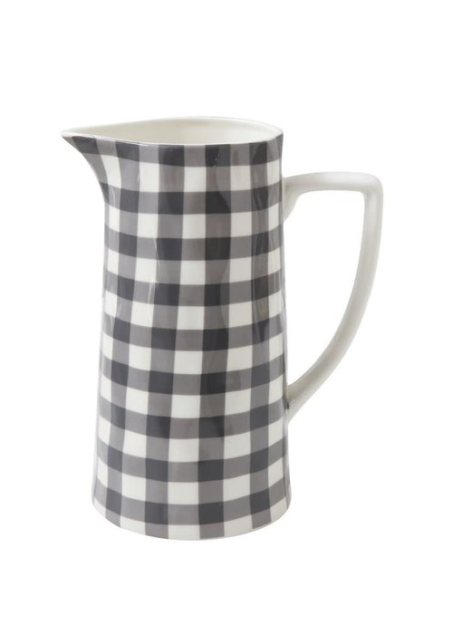 Black Gingham Stoneware 64oz Pitcher