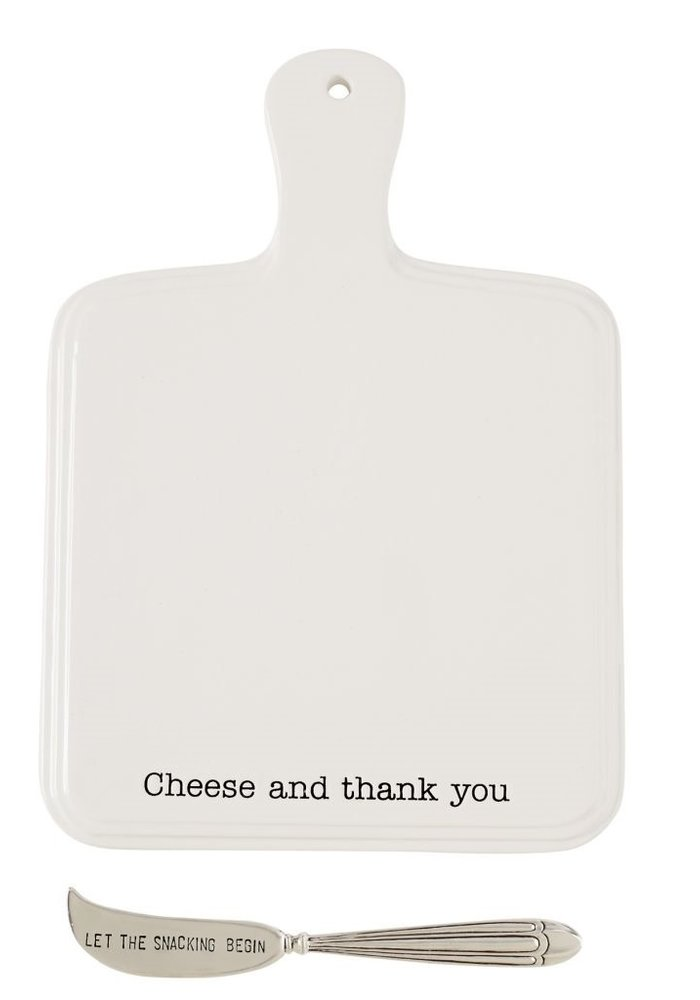 Cheese and Thank You Ceramic Cheese Paddle Board Set