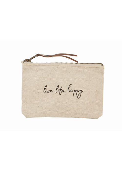 Mudpie Live Life Happy Canvas Pouch