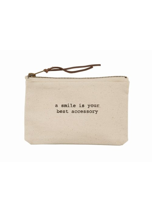 Mudpie A Smile is Your Best Accessory Canvas Pouch