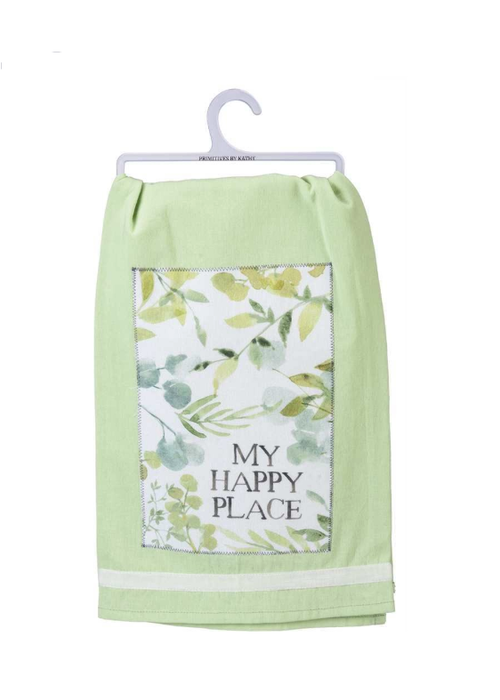 My Happy Place Floral Tea Towel