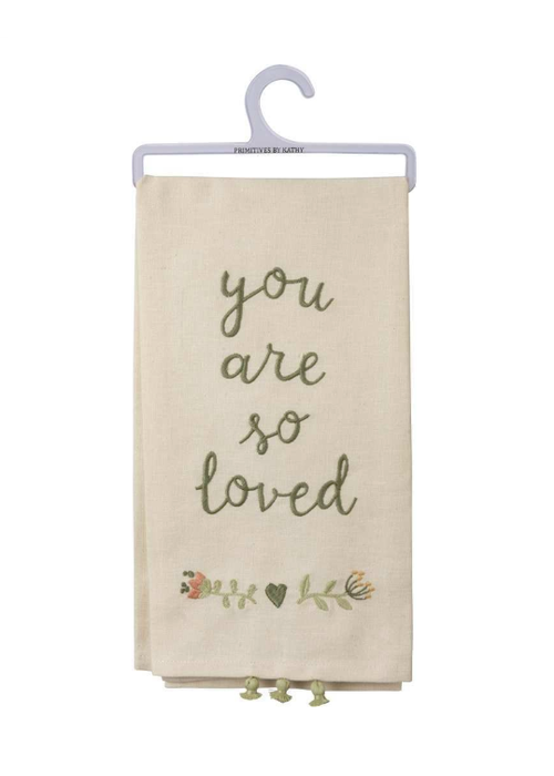 You Are So Loved Tiny Tassel Tea Towel