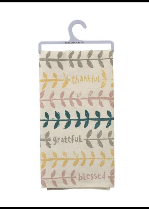 Thankful Grateful Blessed Leaf Tea Towel