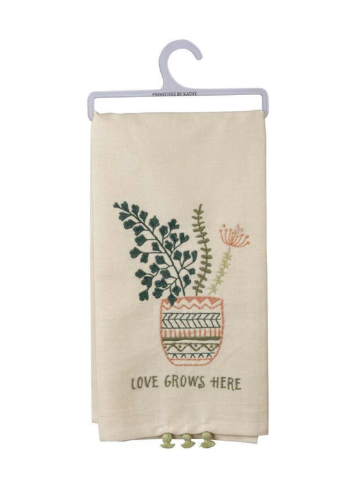 Love Grows Here Tiny Tassel Tea Towel