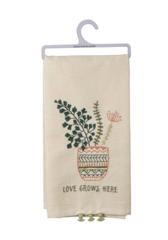 Love Grows Here Tiny Tassel Tea Towel