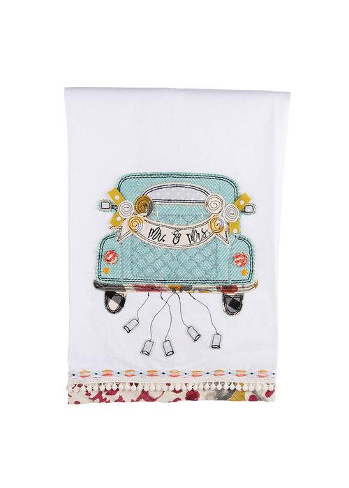 Mr. & Mrs. Wedding Car Tea Towel