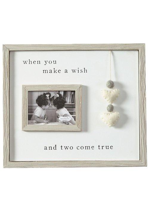 Mudpie Two Come True Pom Heart Twin Frame