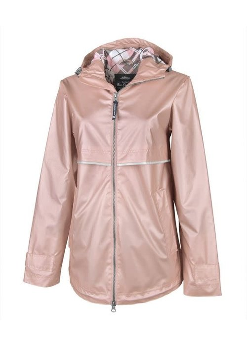 Charles River Rose Gold & Plaid Lining New Englander Raincoat