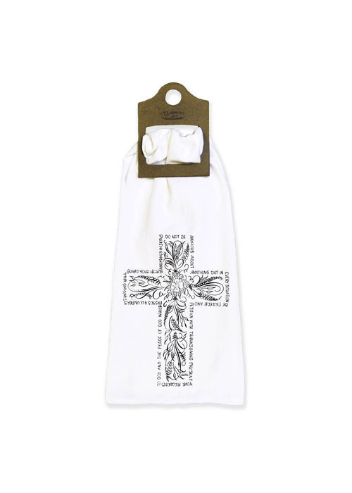 Flourish Cross Cloth Tea Towel