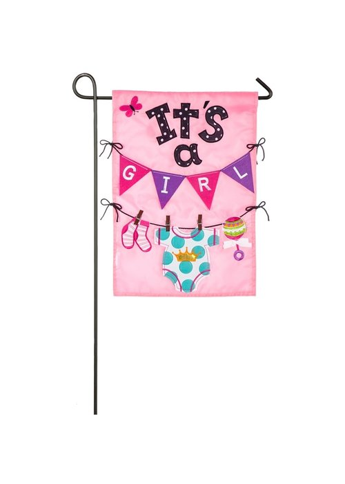 It's a Girl Applique Flag