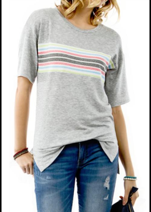 Grey Short Sleeve Stripe Panel Top
