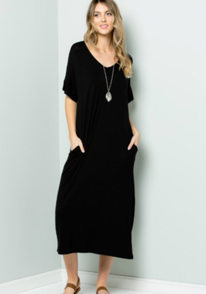 V-Neck Side Slit Pocket Maxi Dress