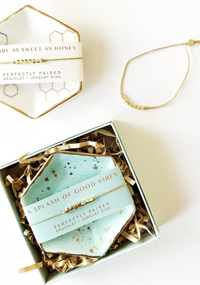 Perfectly Paired Message Bracelet & Dish Set