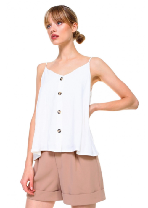 Cream Linen V-Neck Button Tank