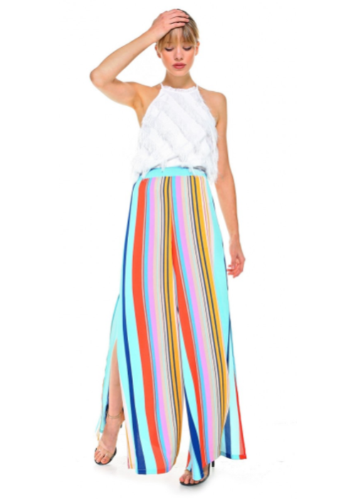 Multicolor Stripe Wide Leg Trousers