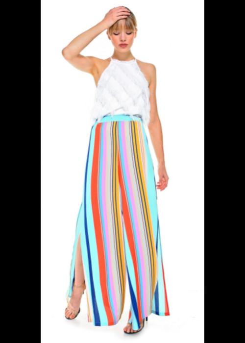 Multicolor Stripe Wide Leg Trousers