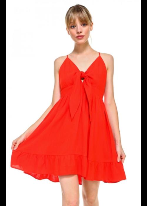 Red Self-Tie Strap Sundress