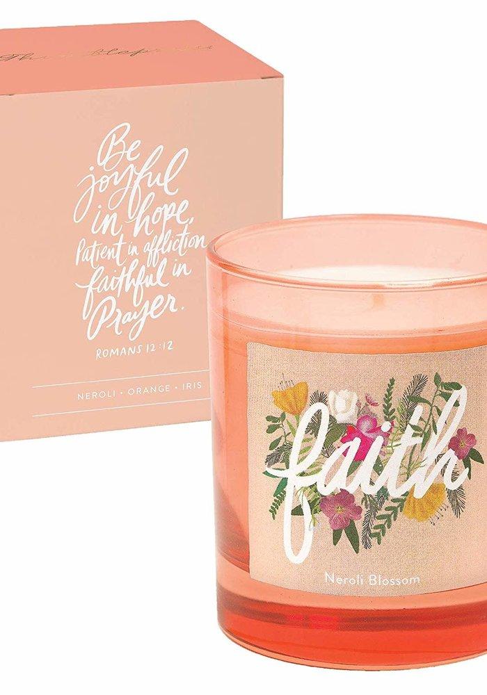 """Faith"" Glass Inspirational Candle"