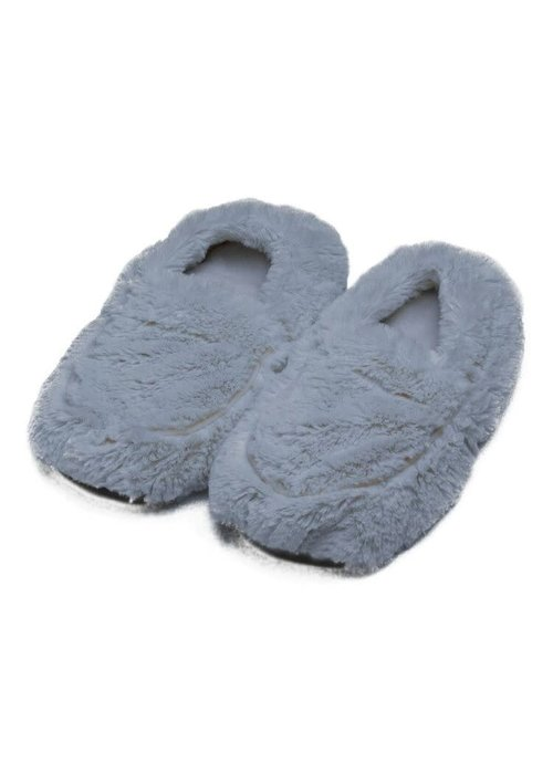 Grey Cozy Plush Warmies Slippers
