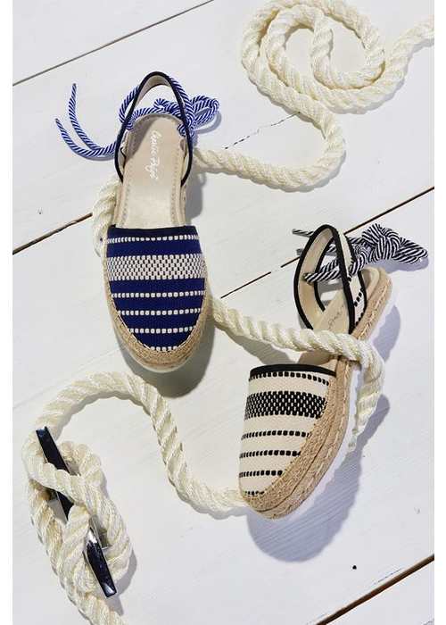Blue Nautical Stripe Canvas Sandals