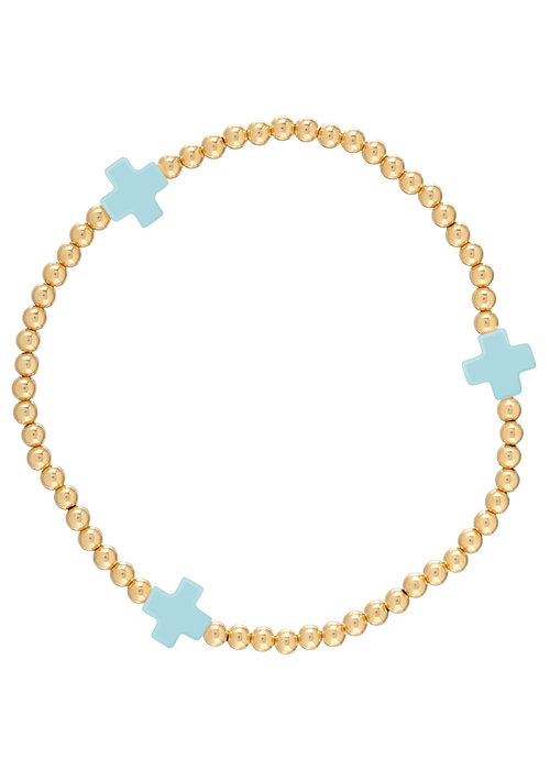 Enewton Signature Cross Pattern 3mm Bead Bracelet 14K Gold