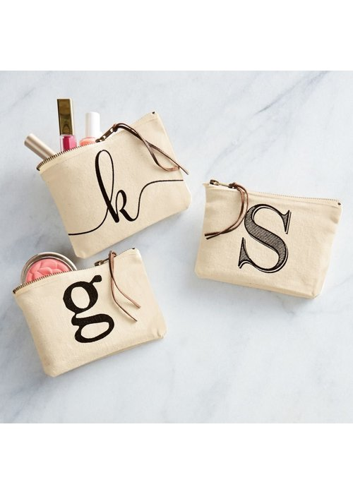 Mudpie Initial Canvas Zip Pouch
