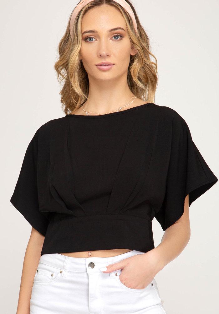 Black Kimono Crop