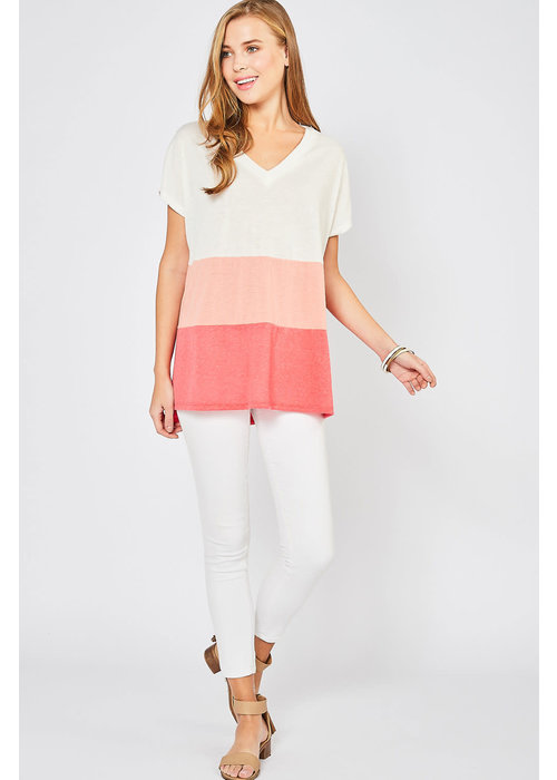 Coral Color Block Tunic