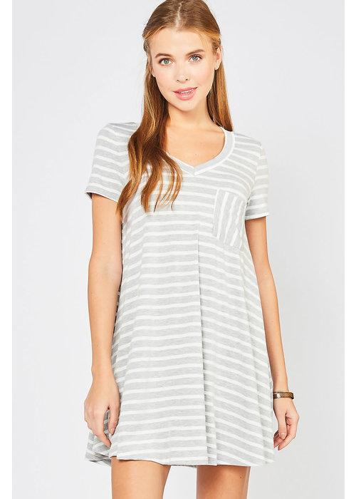 Stripe V-Neck T-Shirt Dress