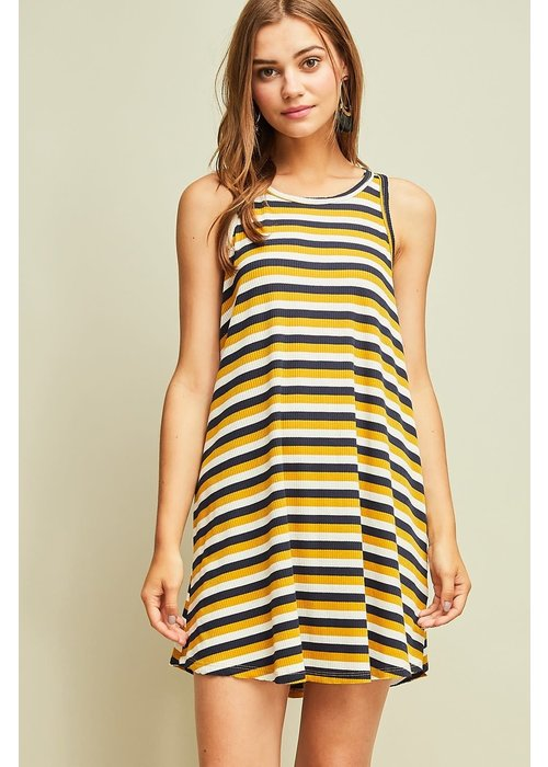 Navy/Yellow Racer Back Dress