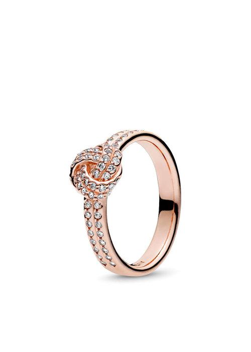 Pandora Sparkling Love Knot Ring, PANDORA Rose™