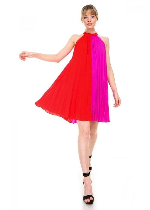 Magenta/Orange Pleated Dress